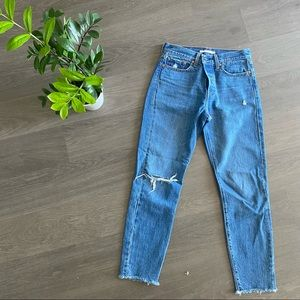 """Levi's Mid-Blue Distressed """"Wedgie Icon"""" Jeans"""